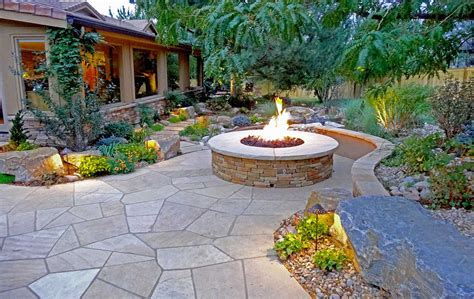landscaping with flagstone rustic ranch and large scale landscape in greenwood village mile high landscaping