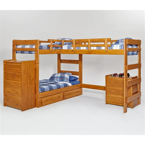 bunk bed woodcrest heartland l shaped loft bunk bed with loft