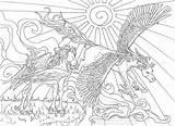 Licorne Licornes Ciel Impressionnant sketch template