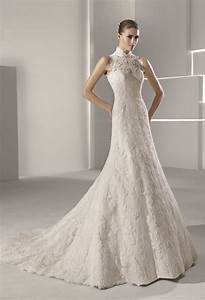 high neck lace mermaid wedding dress onewedcom With high neckline wedding dresses