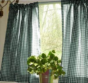 Designer Window Valances Hunter Green Gingham Kitchen Café Curtain Unlined Or With
