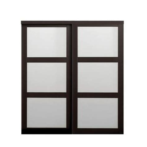 frosted glass interior doors home depot truporte 72 in x 80 1 2 in 2290 series 3 lite tempered frosted glass composite espresso