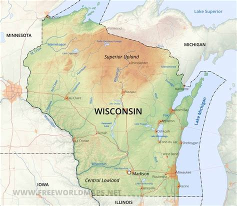 physical map  wisconsin