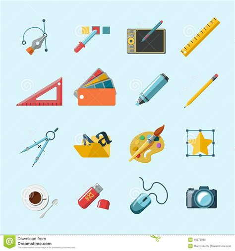 graphic design tools designer tools icons stock vector image of designer
