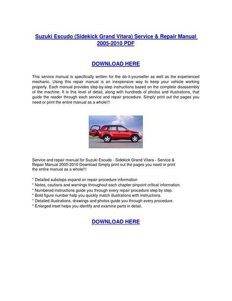 free online car repair manuals download 2010 suzuki equator auto manual suzuki escudo sidekick grand vitara service repair manual 2005 2010 download by