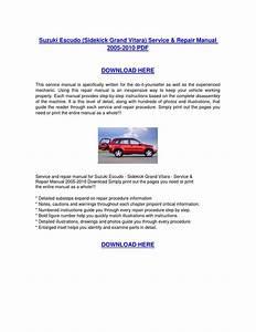 Suzuki Escudo Sidekick Grand Vitara Service  U0026 Repair Manual 2005 2010 Download By