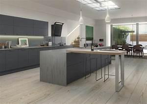 cuisine grise plan de travail bois 2 cuisine gris With salle À manger contemporaine avec facade cuisine gris anthracite