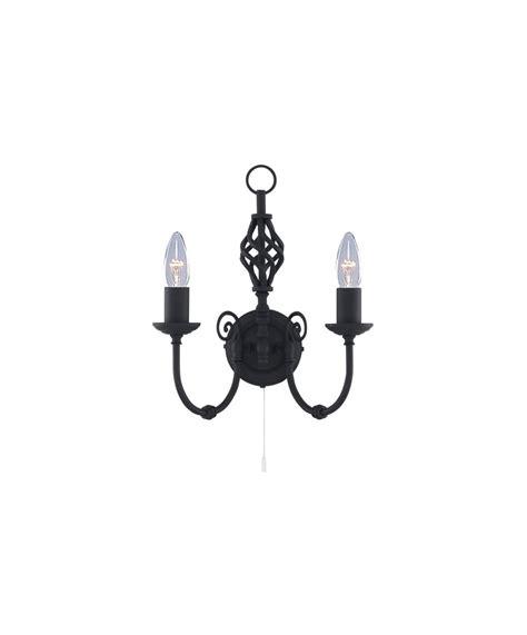 searchlight zanzibar double wall light matt black pull cord