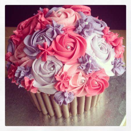 pink purple giant cupcake  great british bake
