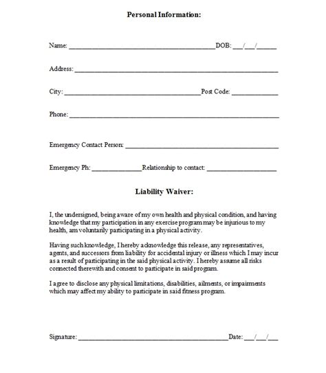 Liability Waiver Template Liability Insurance Liability Insurance Waiver Template