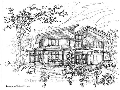 Architectural Sketches, Sketches And Line Drawings On