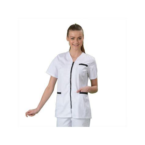 tablier de cuisine professionnel personnalisé tenue aide soignante blanche fermeture zip marine label blouse