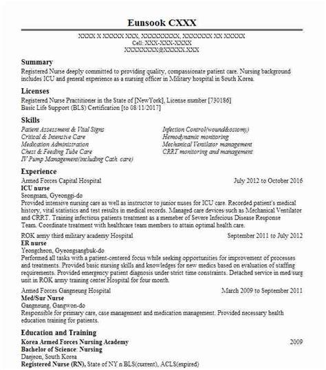 Icu Rn Resume by Icu Resume Sle Nursing Resumes Livecareer