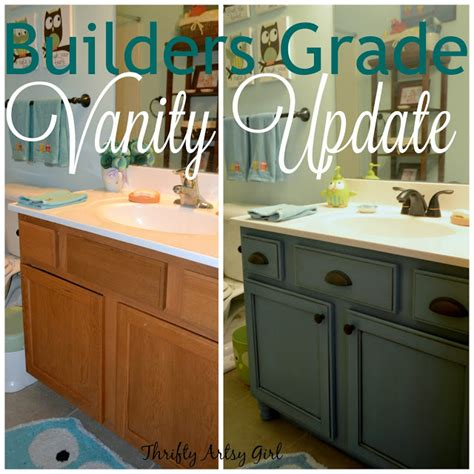 builders grade teal bathroom vanity and faucet upgrade for