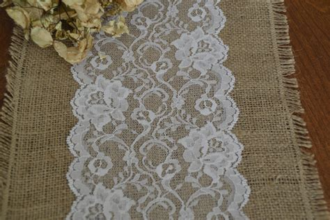 burlap table runner with lace burlap and lace table runner 12 wide by 144 long
