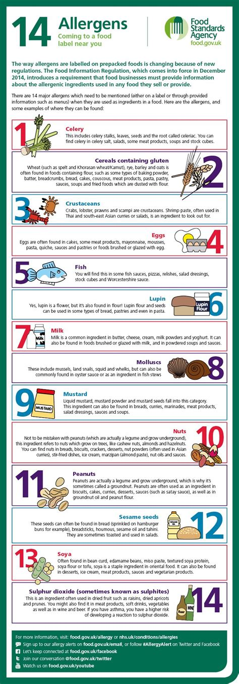 cuisine standard pin by food standards agency on food allergy and