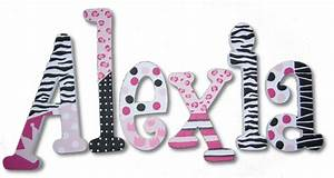 Pink cheetah and zebra custom painted wall letters for Wall letter designs