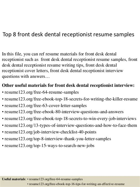 Dental Front Office Receptionist Resume by Top 8 Front Desk Dental Receptionist Resume Sles