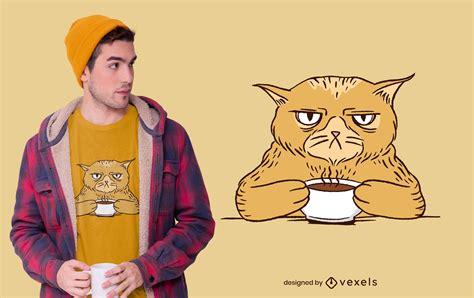 You will instantly receive a zipped file containing the following file formats: Diseño De Camiseta Grumpy Coffee Cat - Descargar Vector