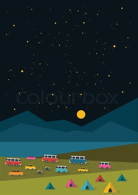 summer night festival party  poster background  retro cars vans buses  tent
