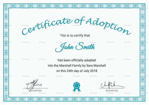 printable adoption certificate design template  psd word