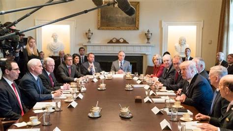 members of the cabinet president s cabinet meeting lights up social media cbs news