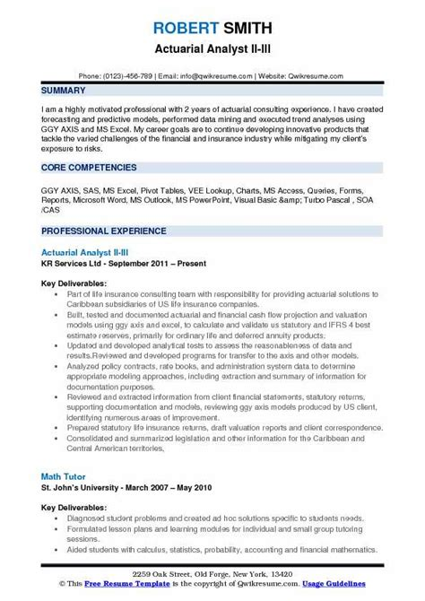actuarial analyst resume sles qwikresume