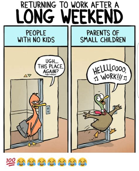 No Kids Meme - returning to work after a long weekend parents of people with no kids small children ugh this