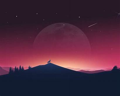 Minimal 4k Wolf Moon Howling Standard Wallpapers