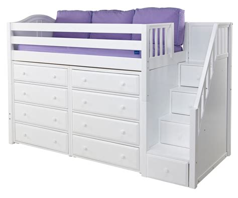 maxtrix loft bed maxtrix mid height staircase loft bed w dressers