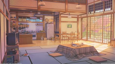 Anime Wallpaper Room - anime room kitchen inside the building kotatsu scenic