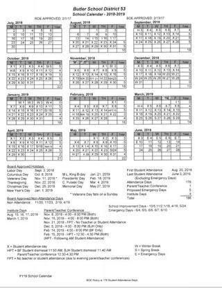 butler junior high calendar