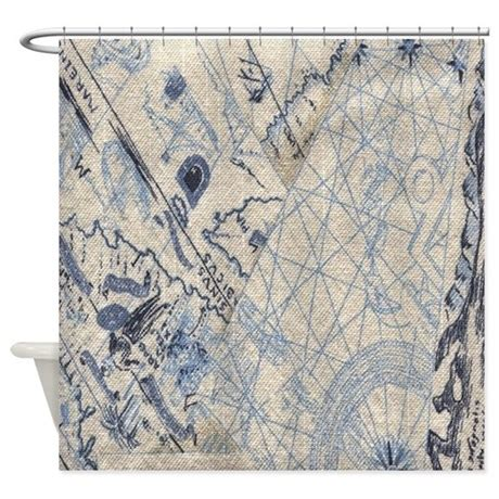 nautical shower curtain nautical map shower curtain by crazyshowercurtains
