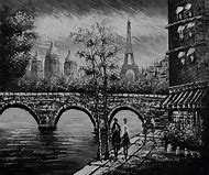Black and White Eiffel Tower Painting