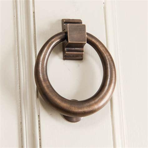 brass door knocker distressed antique brass hoop door knocker