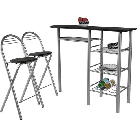 buy home amelia breakfast table and 2 chairs black at