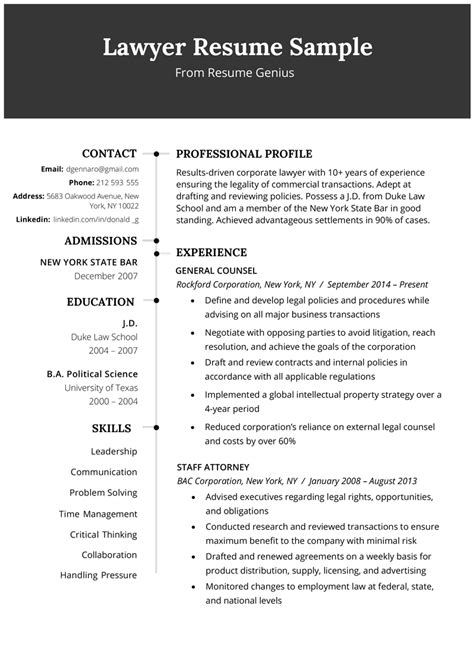 lawyer resume sle writing tips resume genius