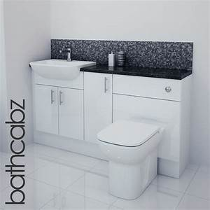 White gloss bathroom fitted furniture 1500mm ebay for Fitted bathroom furniture white gloss