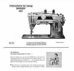 Singer 401 Sewing Machine Instructions User Guide Manual