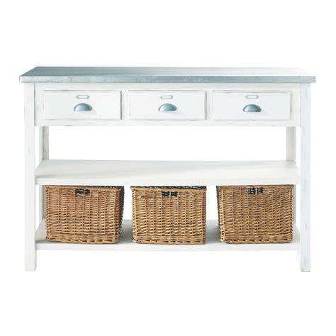 table console cuisine table console blanche 3 paniers sorgues maisons du monde