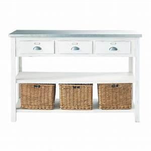 table console blanche 3 paniers sorgues maisons du monde With meuble cuisine maison du monde 3 console meubles et decoration tunisie