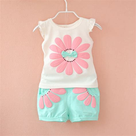 2016 fashion toddler Korean baby girls summer clothing sets bow sunflower girls summer clothes ...