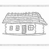 Coloring Thatched Roof sketch template