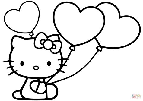 kitty  heart balloons coloring page  printable coloring pages