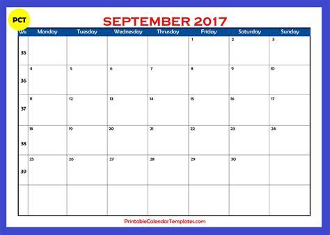 September 2017 Calendar Template September 2017 Calendar Printable Printable Calendar