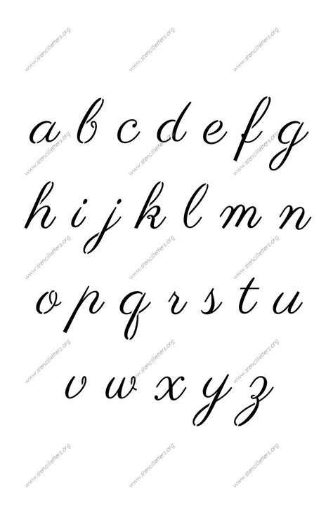calligraphy    lowercase letter stencils
