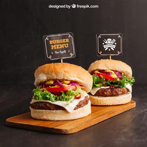 Download free mockups in psd. Fast Food Free Mockup with Two Hamburgers   Free Mockup