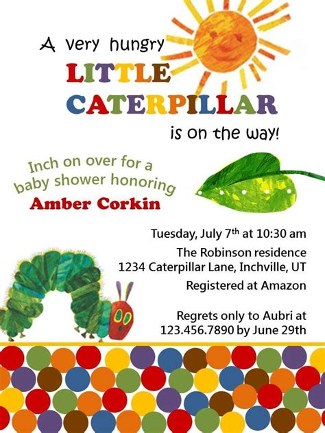 hungry caterpillar baby shower invitations party xyz