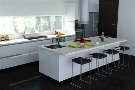 cuisine blanche avec ilot central 53 variantes pour les cuisines blanches