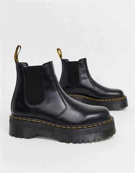 dr martens  quad platform chelsea boots  black asos
